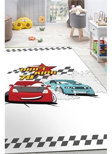 Frenda Frenda Home Araba Desenli Kaymaz Deri Taban Dekoratif Halı Beyaz